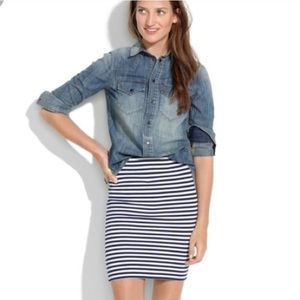 Madewell NWT Hi Line Navy And White Stripe Skirt